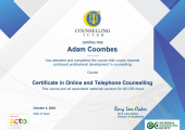 Certified online and telephone based counselling