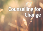 an image of a butterfly on a flower with the words 'Counselling for Change'
