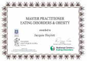 I have been awarded Master Practitioner Eating Disorders and Obesity