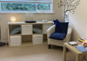 A light, airy and welcoming therapy room for us to work together in
