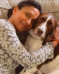Preethi Sutton - Integrative Counsellor and BACP member with Therapy Dog Benjy