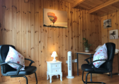 A quiet, calm garden room for face to face counselling.