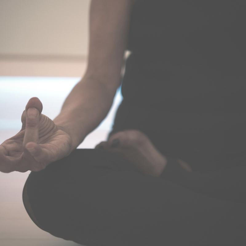 Person meditates