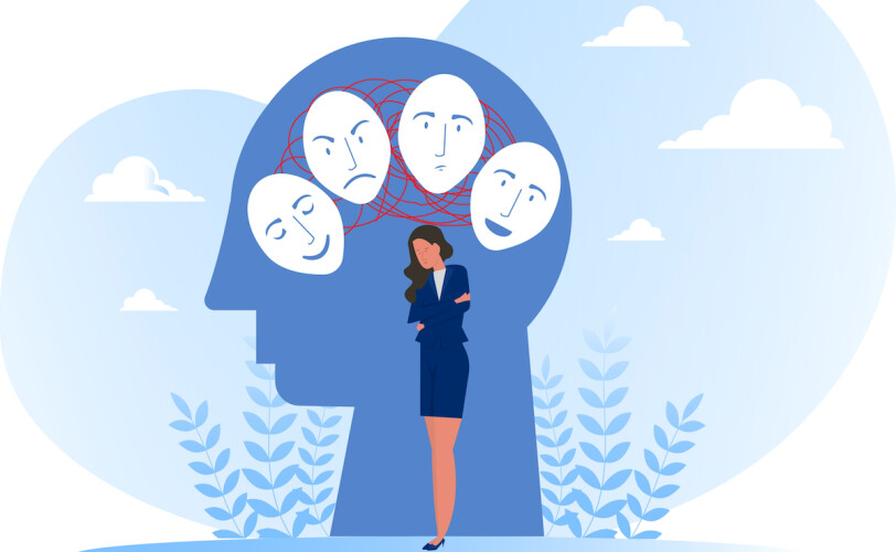 Illustration of woman experiencing many emotions