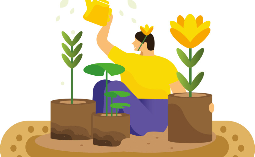 Indoor gardening illustration
