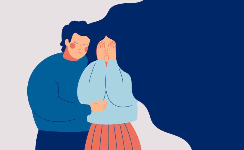 Illustration of man comforting woman