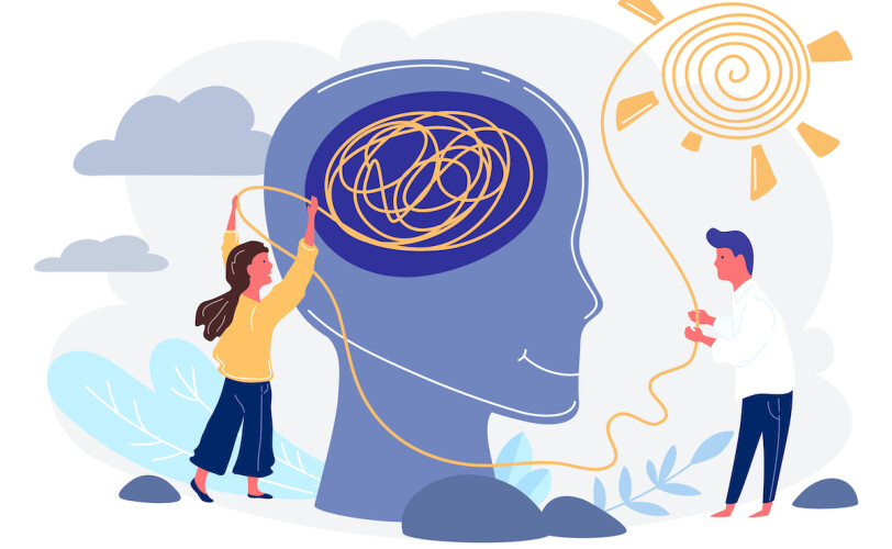 Illustration of mind being untangled