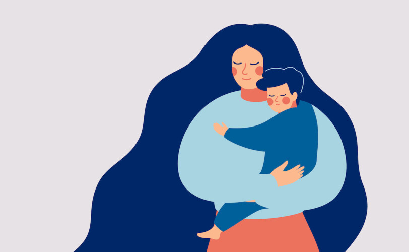 Mother holding child