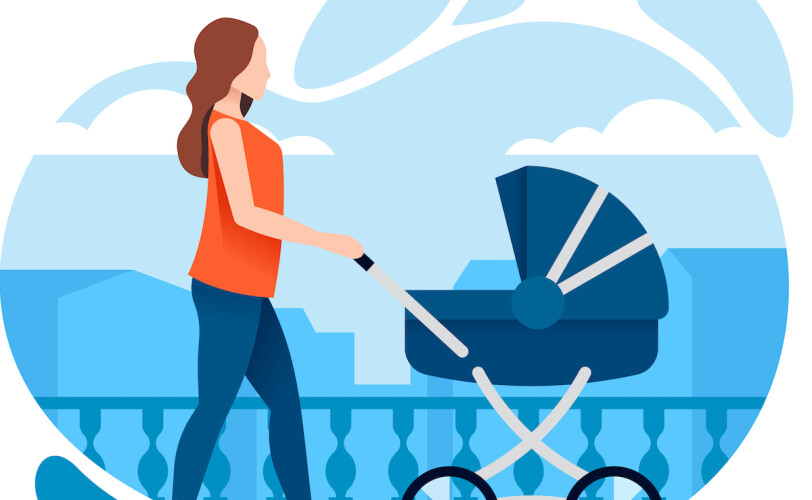Mother walking with a pram