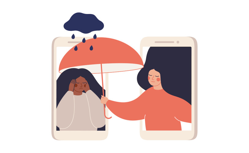 Illustration of a person holding an umbrella for another person