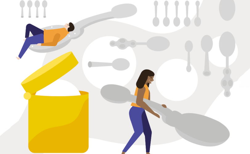 Illustration of two people and spoons