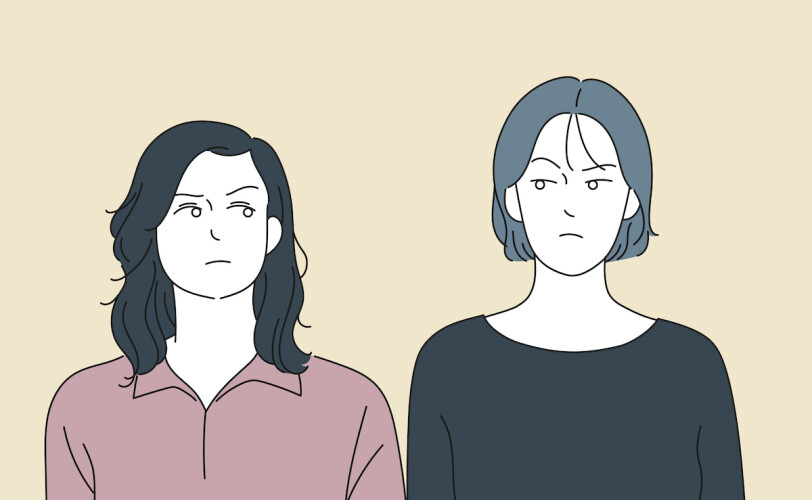 Illustration of two women frowning