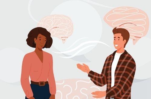 illustrated people talking