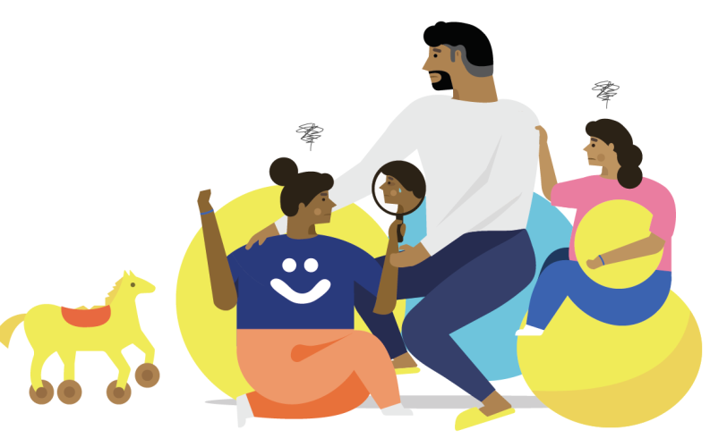Happiful illustration of a family talking about mental health