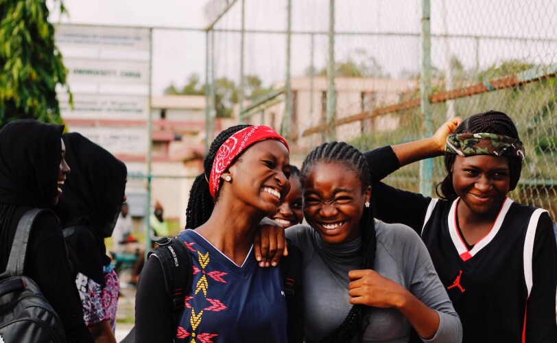 Young girls laughing together
