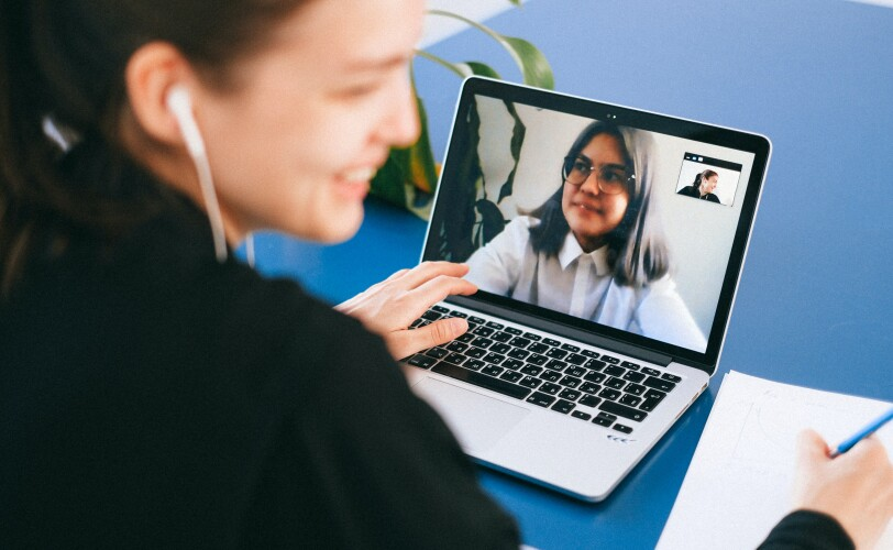 Two women speaking on a video call
