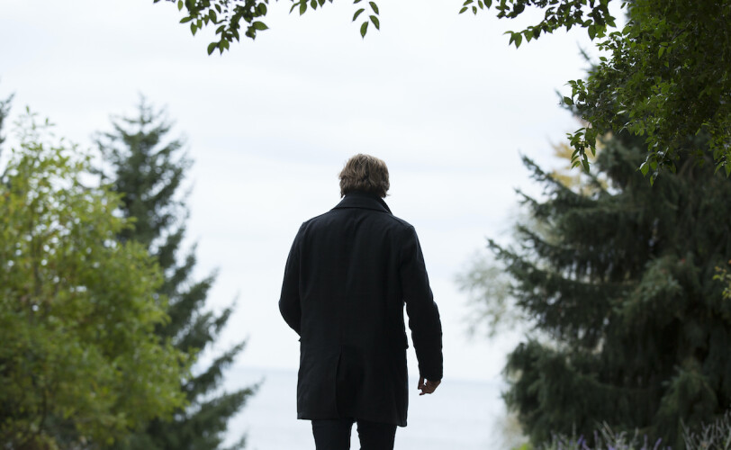 Man walking in woods