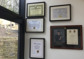 Hypno House, Holmfirth. A peak at my certificates and awards wall.