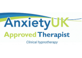 AnxietyUK Approved therapist logo<br />Anxiety UK approved therapist - clinical hypnotherapy