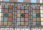 Therapy room window - The coloured glass creates a peaceful and calming atmosphere
