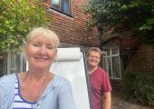 June O'Driscoll & Geoff Rolls socially distanced training