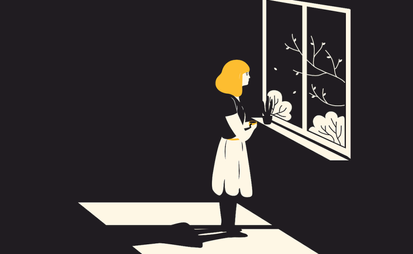Illustration of girl looking out of window