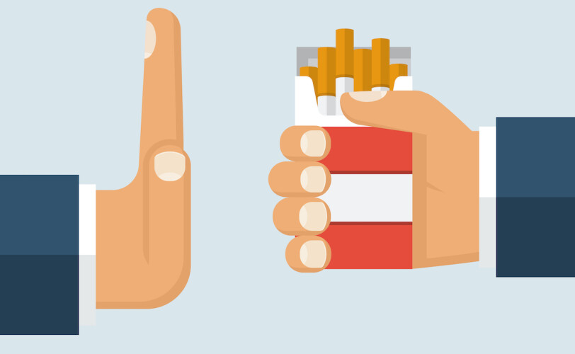 Illustration of hand in front of cigarette packet