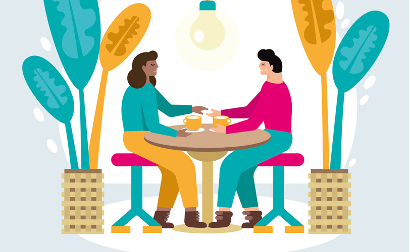 Illustration of two people chatting with tea