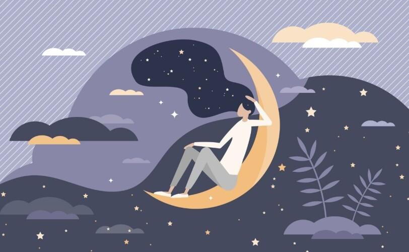 Illustration of woman on moon