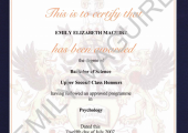 BSC Hons Psychology Certificate