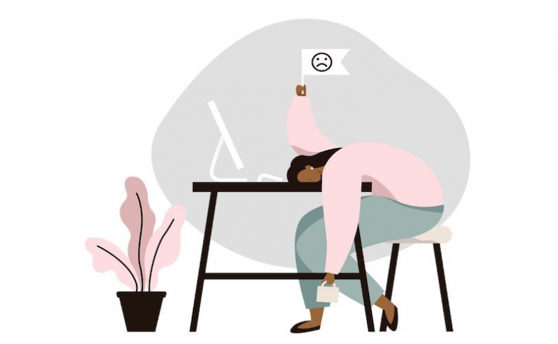 Illustration of woman overwhelmed at desk