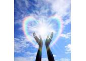 Reiki hands blue sky