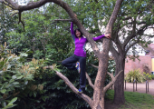 Kathy in a tree