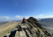 Striding Edge, Helvellyn, with my son Ben.