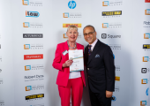 June O'Driscoll with Theo Paphitis awarded SBS Winner 2018
