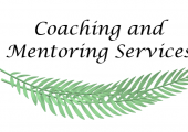 This is Coaching and Mentoring Services business logo with a white background and green leaves