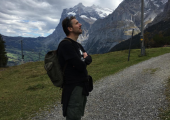 Hiking around the base of the Eiger.