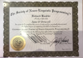 Awarded Licensed Master Trainer of NLP - By Dr Richard Bandler (Co-creator of NLP)
