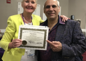 June O'Driscoll with John La Valle (President of the Society of NLP) Awarded Master Trainer