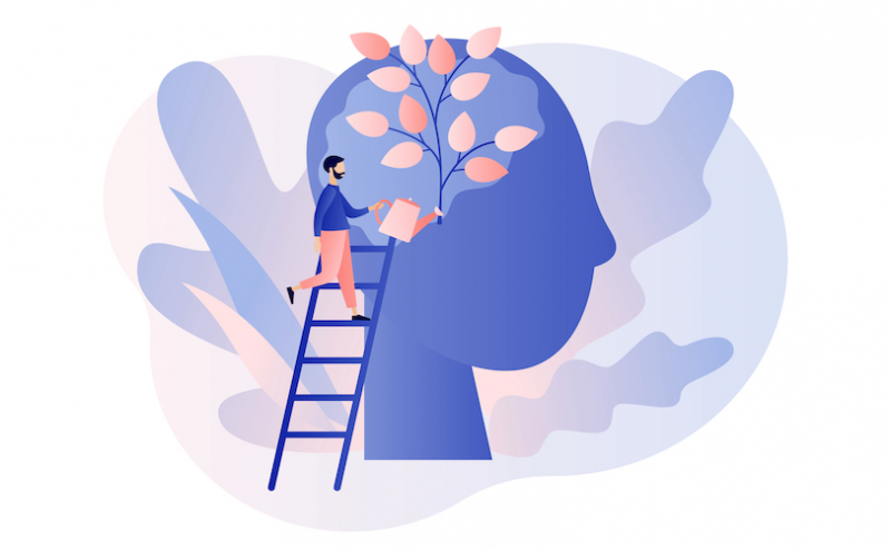 Illustration of man planting tree in the mind