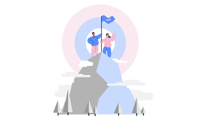 Illustration of two people at the top of the mountain