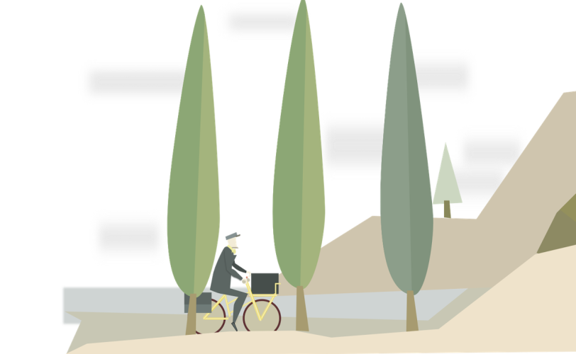 Illustration of man cycling by trees