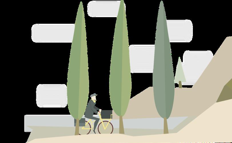 Illustration of man cycling