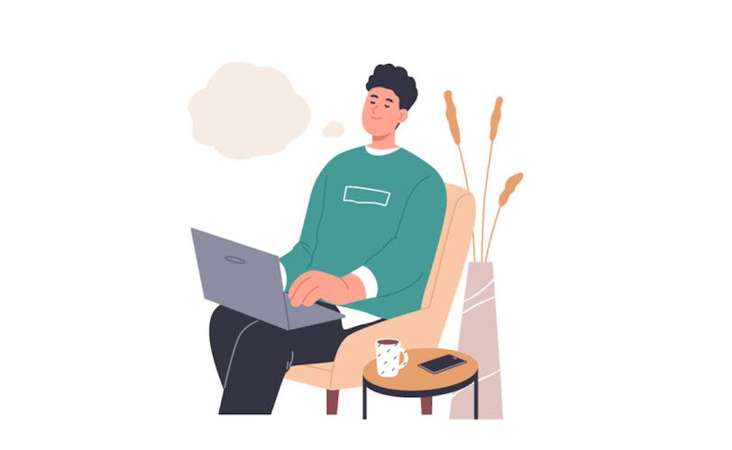 Illustration of man day dreaming