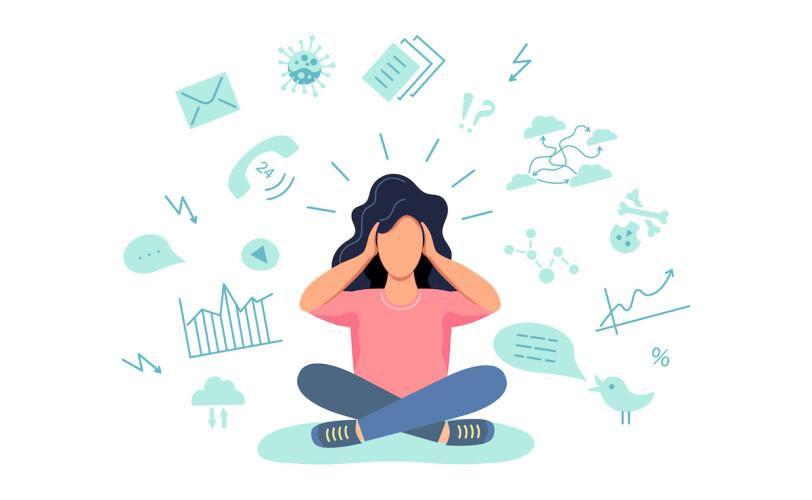 Illustration of woman stressed