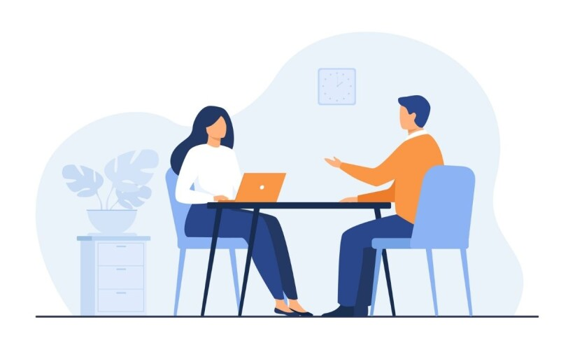 Illustration of two people at table with laptops