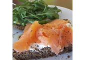 Flax loaf with smoked salmon