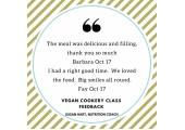vegan cookery class feedback