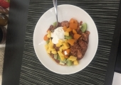 Chocolate Porridge with fruit and kefir