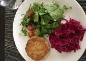 Fishcakes, salad and sauerkraut
